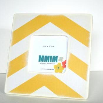 Large Yellow Chevron Picture Frame