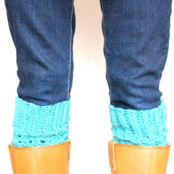 Crochet Boot Cuffs - Boot Toppers - Dark Teal